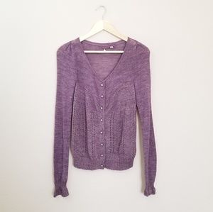 Knitted & Knotted Shimmer Palette Purple Cardigan